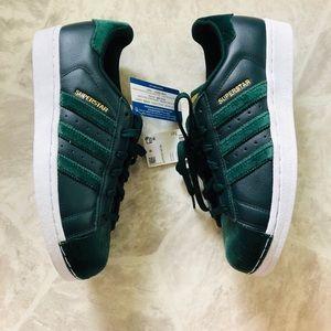 NWT Adidas superstar velvet forest green sneakers